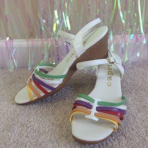🌈VTG rainbow wedge sandals shoes white 7.5